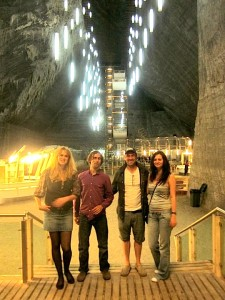 Mitch, Simina, Laura and I in a Romanian salt mine themepark