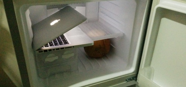 laptop and coconut in fridge